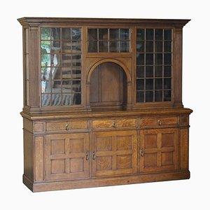 Antique Victorian Panelled Oak Welsh Bookcase