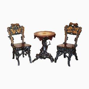 Antike chinesische Stühle & Tisch aus geschnitztem & vergoldetem Wurzelholz, 3er Set