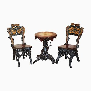 Antique Chinese Root Wood Carved Gilt Occasional Chairs & Table, Set of 3