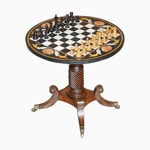 Tavolo da scacchi Regency in marmo e legno massiccio con set di scacchi