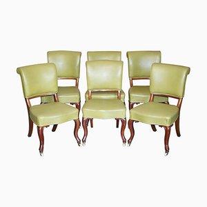 Antike frühviktorianische Esszimmerstühle aus Nussholz, 6er Set