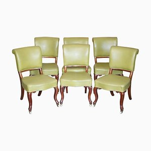 Antique Early Victorian Walnut Framed Dining Chairs, Set of 6