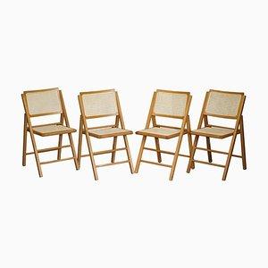 Vintage Beech Wood Bergere Rattan Folding Chairs, Set of 4