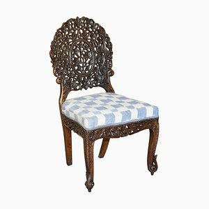 Anglo-Indian Burmese Hand-Carved Hardwood Chair with Floral Detailing