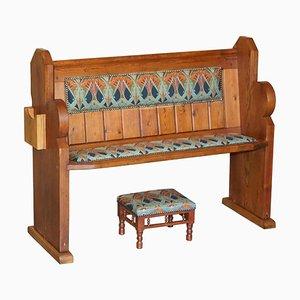 Panca Ianthe vintage in legno di pino con poggiapiedi, set di 2