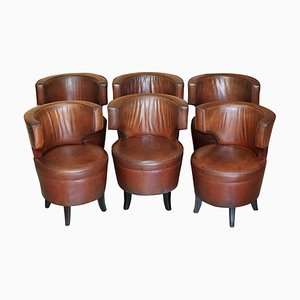 Aged Brown Leather Tub Armchairs, Set of 6