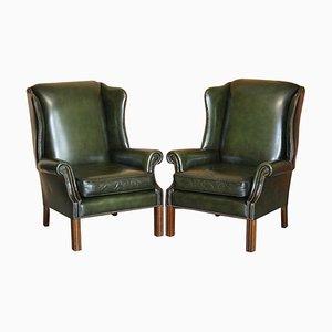Regency Green Leather Pegasus Wingback Armchairs, 1987, Set of 2