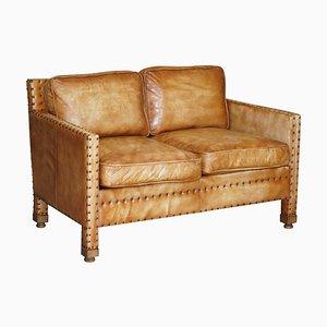 Brown Leather Edwardian Style Seat Sofa