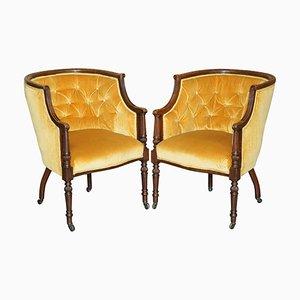 Late Regency Armlehnstühle aus Velours mit geschnitztem Hartholzgestell, 2er Set