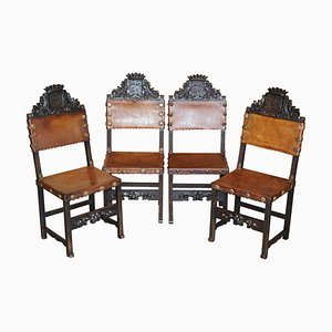 Victorian Carved Oak & Brown Leather Armorial Crest Coat of Arms Dining Chairs, Set of 4