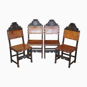 Viktorianische Esszimmerstühle aus geschnitzter Eiche & braunem Leder Wappen Wappen, 4er Set