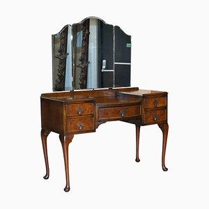 Burr Walnut Dressing Table with Trifold Mirrors from Maple & Co, 1930s