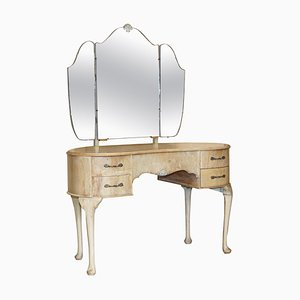 Bleached Walnut Dressing Table with Tri Fold Mirrors, 1930s