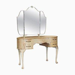 Frisiertisch aus gebleichtem Nussholz mit dreifach klappbaren Spiegeln, 1930er
