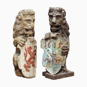 English Polychrome Painted Heraldic Lion Newel Banisters, Set of 2