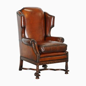 Antique Victorian Brown Leather Wingback Armchair