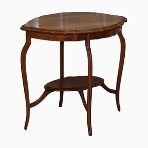 Decorative Satinwood Occasional Centre Table with Scalloped Edge & Ornate Legs