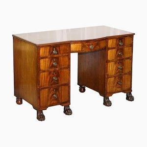 Regency Hardwood Kneehole Desk with Lion Hairy Paw Feet, 1815