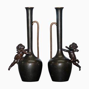 Vintage Bronze Jug Vase Urns with Little Cherub Angles, 1930s, Set of 2