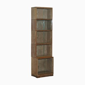 Antique Limed Oak Modular Minty Oxford Stacking Legal Bookcase, 1930s