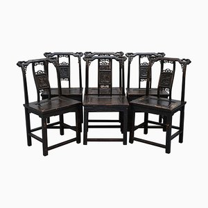Japanese Throne Armchairs, 1880s, Set of 6