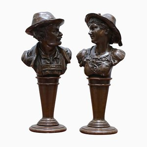 Victorian Solid Miniature Bronze Bust Statues, Set of 2
