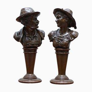 Viktorianische Büstenstatuen aus massiver Bronze, 2er Set