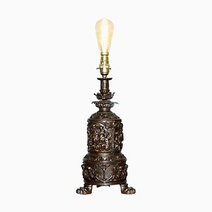 Bronzed Cherub Putti Angel Oil Lamp Converted Into Table Lamp, 1860s