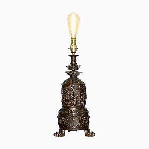 Bronzierter Engel Puttengel Öllampe, 1860er