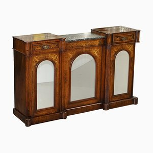 Victorian Walnut Marquetry Inlaid Mirrored Credenza with Marble Top