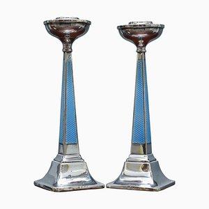 Sterling Silber & Guilloche Kerzenhalter von Charles Green & Co, 1927, 2er Set