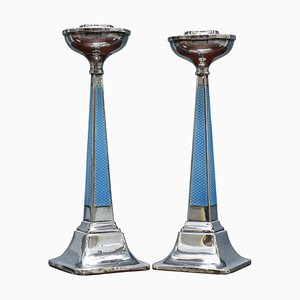 Sterling Silver & Guilloche Enamel Candlesticks by Charles Green & Co, 1927, Set of 2
