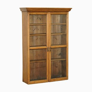 Vintage Solid Pine Glass Door Library Bookcase / Hanging Cabinet