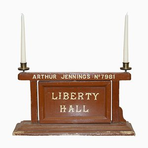 Vintage Masonic Lodge Rotating Sign with Liberty Hall Strict Order Candleholders