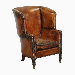 Chestnut Brown Leather Regency Porters Wingback Armchair, 1810s