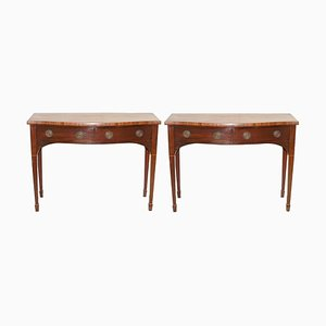 Victorian Hardwood Console Tables with Twin Drawers from Howard & Sons, 1880s, Set of 2