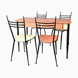 Table de Salle à Manger Mid-Century en Formica Rose et Jaune avec 4 Chaises, Set de 5