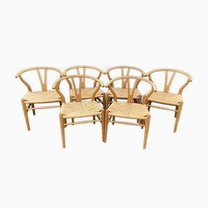 Eichenholz Wishbone Stühle von Hans J. Wegner für Carl Hansen & Son, 6er Set