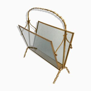 Faux Bamboo Magazine Rack Attributed to Maison Baguès
