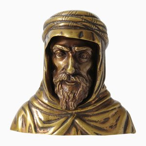 Antique Brass Bust of a Bedouin, 19th Century