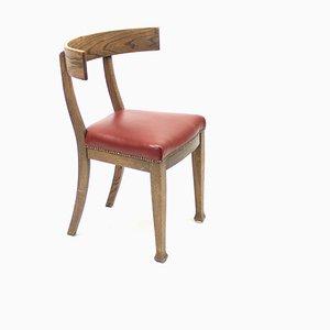 Klismos Stuhl aus Eiche & Leder, Frühes 20. Jh