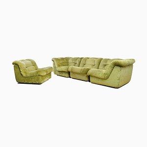 Modular Velour Sofa, 1960s, Set of 4