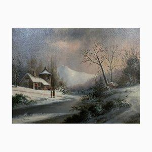 Olio su tela, paesaggio invernale, 1880-1900
