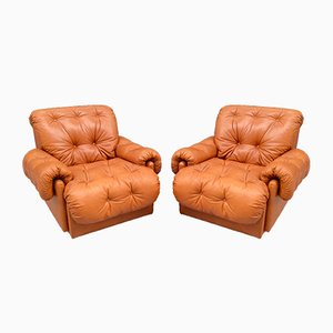 Leather Armchairs, 1980s, Set of 2