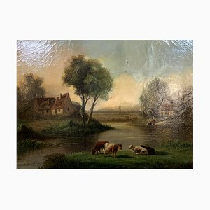 Óleo sobre lienzo, apareciendo un paisaje a orillas del lago, 1880-1900