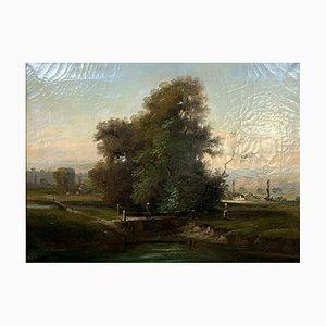 Huile sur Toile, Apparition d'un Pécheur sur un Pont, 1880-1900