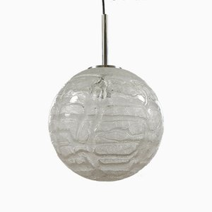 Mid-Century Modern Frosted Ice Glass Ball Pendant Lamp by Doria for Doria Leuchten, 1960s