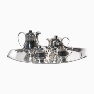 Versilbertes Art Deco Tee- und Kaffeeservice von Wiskemann, 5er Set