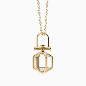 Collar minimalista moderno con colgante de talismán de seis sentidos de oro amarillo macizo de 18k con cristal de roca natural de Rebecca Li