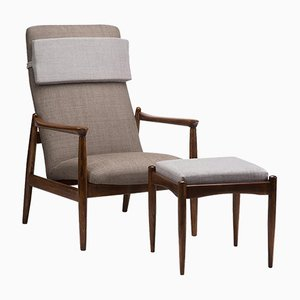 GFM 64 Armchair with Footstool, Set of 2